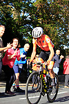 Annemiek van Vleuten of the Netherlands still over 2' ahead on the 2nd lap of the Harrogate circuit during the Women Elite Road Race of the UCI World Championships 2019 running 149.4km from Bradford to Harrogate, England. 28th September 2019.<br /> Picture: Andy Brady | Cyclefile<br /> <br /> All photos usage must carry mandatory copyright credit (© Cyclefile | Andy Brady)