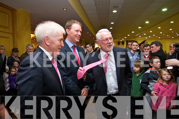 Jimmy Deenihan, Arthur Spring and Martin Ferris at the North Kerry, West Limerick Election 2011 count at the Brandon Hotel Tralee on Saturday.