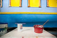 Barattoli di vernice utilizzata per dipingere i carri allegorici.<br /> Il carnevale di Gallipoli è tra i più noti della Puglia. La sua tradizione è antichissima ed è documentata, oltre che in atti e documenti settecenteschi, anche da radici folcloristiche che affondano le origini in epoca medioevale, tramandate fino ad oggi dallo spirito popolare. La prima edizione (per come la conosciamo) risale al 1941; nel 2014 sarà l'edizione numero 73.<br /> La manifestazione carnascialesca è organizzata dall' Associazione Fabbrica del Carnevale, nata nel febbraio 2013 con la finalità diorganizzare, promuovere e riportare in auge il Carnevale della Cittàdi Gallipoli. L'Associazione raccoglie al suo interno i maestri cartapestai Gallipolini e tanti giovani artisti, che vogliono valorizzare il Carnevale della città bella. Presidente dell'Associazione è Stefano Coppola.<br /> La manifestazione ha inizio il 17 gennaio, giorno di sant'Antonio Abate (te lu focu = del fuoco), con la Grande Festa del Fuoco, quando si accende con la tradizionale focara, un grande falò di rami d'ulivo. L'ultima domenica di carnevale e il martedì grasso lungo corso Roma, nel centro cittadino, si svolge la sfilata dei carri allegorici in cartapesta e dei gruppi mascherati corso Roma davanti a migliaia di spettatori provenienti da tutta la provincia di Lecce e da città pugliesi. Il tema dell'edizione di quest'anno è un omaggio a Walter Elias Disney.<br /> <br /> Cans of paint used to paint the floats.<br /> The Carnival of Gallipoli is among the best known of Puglia. Its tradition is very old and is documented , as well as records and documents in the eighteenth century , as well as folkloric roots that sink their roots in medieval times , handed down today by the popular spirit . The first edition dates back to 1941 and in 2014 will be the edition number 73 .<br /> The carnival is organized by the Association of Carnival Factory , founded in February 2013 with the objective to organize, promote and revive