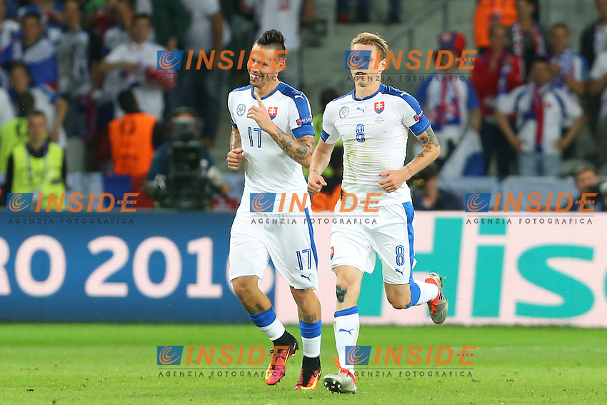Esultanza Gol Marek Hamsik (Slovaquie) Goal celebration <br /> Lille 15-06-2016 Stade Pierre Mauroy Footballl Euro2016 Russia - Slovakia / Russia - Slovacchia Group Stage Group B. Foto Gwendoline Le Goff / Panoramic / Insidefoto