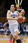 21 February 2016: Duke's Angela Salvadores (ESP) (3) pulls the ball away from an attempted steal by Georgia Tech's Aaliyah Whiteside (behind). The Duke University Blue Devils hosted the Georgia Tech Yellow Jackets at Cameron Indoor Stadium in Durham, North Carolina in a 2015-16 NCAA Division I Women's Basketball game. Georgia Tech won the game 64-59.