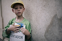 a young fan awaits his hero outside the teambus after the stage<br /> <br /> 104th Tour de France 2017<br /> Stage 16 - Le Puy-en-Velay &rsaquo; Romans-sur-Is&egrave;re (165km)