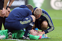 /s12/ lies injured after a clash of heads with Tammy Abraham of England  during Sweden Under-21 vs England Under-21, UEFA European Under-21 Championship Football at The Kolporter Arena on 16th June 2017