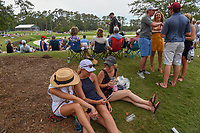 Three avid golf fans share a laugh as they surf their social media near the green on 11 during round 3 of The Players Championship, TPC Sawgrass, at Ponte Vedra, Florida, USA. 5/12/2018.<br /> Picture: Golffile | Ken Murray<br /> <br /> <br /> All photo usage must carry mandatory copyright credit (&copy; Golffile | Ken Murray)