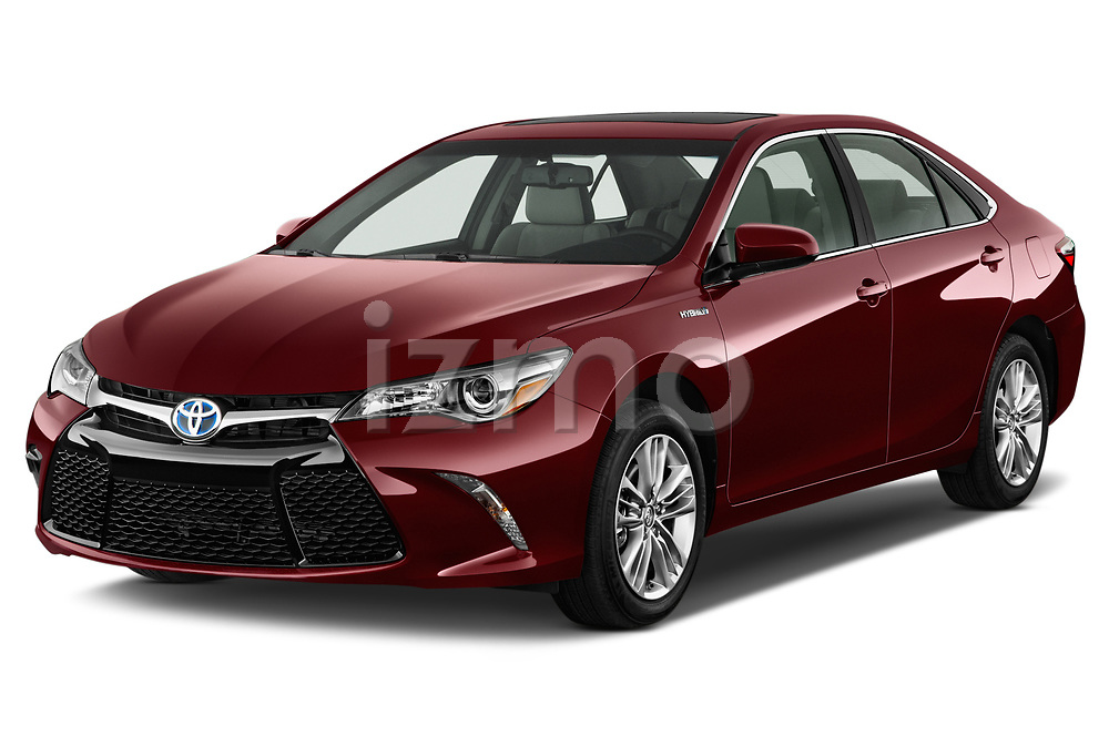 2015 Toyota camry hybrid 4 Door Sedan angular front stock photos of front three quarter view
