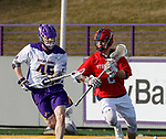 UAlbany Men's Lacrosse defeats Stony Brook on March 31 at Casey Stadium.  Connor Grippe (#2) defended by AJ Kluck (#45).