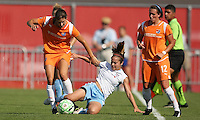 Sky Blue midfielder Yael Averbuch wins the ball from Chicago's Brittany Klein as teammate Meghan Schnur looks on. Sky Blue defeated the Chicago Red Stars 1-0 on Sunday, July 19, 2009.