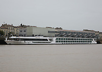 General view of the Scenic Space-Ship cruise ship S.S. Scenic Diamond berthed on the River Garonne, Bordeaux, Nouvelle-Aquitaine, France on 16.10.19.