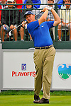 29 August 2009: Ernie Els of South Africa tees off on the first hole during the third round of The Barclays PGA Playoffs at Liberty National Golf Course in Jersey City, New Jersey.