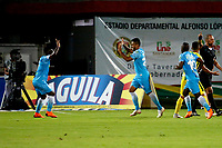 BUCARAMANGA - COLOMBIA, 21-09-2018: Los jugadores de Jaguares F. C., celebran el gol anotado al Atlético Bucaramanga, durante partido entre Atlético Bucaramanga y Jaguares F. C., de la fecha 11 por la Liga Aguila II 2018, jugado en el estadio Alfonso López de la ciudad de Bucaramanga. / The players of Jaguares F. C., celebrate a scored goal to Atletico Bucaramanga, during a match between Atletico Bucaramanga and Jaguares F. C., of the 11th date for the Liga Aguila II 2018 at the Alfonso Lopez Stadium in Bucaramanga city Photo: VizzorImage  / Oscar Martínez / Cont.