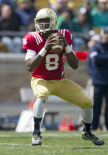 April 20, 2013:  Notre Dame Fighting Irish quarterback Malik Zaire (8) sets in the pocket to pass the ball in action during the Notre Dame Blue-Gold Spring game at Notre Dame Stadium in South Bend, Indiana.  The Defense topped the Offense by a score of 54-43.