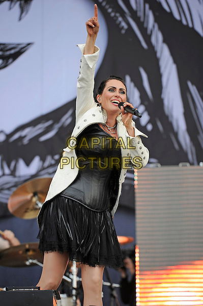LEICESTERSHIRE, ENGLAND - JUN 13: Sharon Janny den Adel of Within Temptation performing at Download Festival, Donington Park on June 13th 2014 in Leicestershire, England<br /> CAP/MAR<br /> &copy; Martin Harris/Capital Pictures