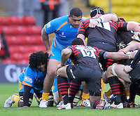 Watford, England. Zak Taulafo of London Wasps prepares for the scrum during Aviva Premiership Saracens vs London Wasps at Vicarage Road  Watford England on November 4, 2012