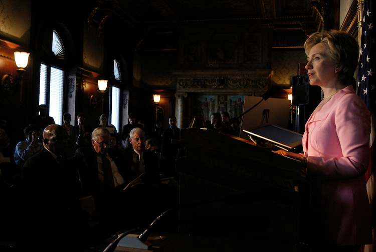 Sen. Hillary Clinton, D-NY, speaks at a press conference at the Library of Congress to commemorate the 40th anniversary of the Voting Rights Act, which is up for reauthorization.