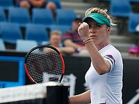 15th January 2019, Melbourne Park, Melbourne, Australia; Australian Open Tennis, day 2; Elina Svitolina of Ukraine reacts during match against Viktorij Golubic of Switzerland