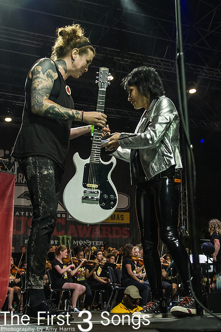 Laura Jane Grace and Joan Jett at the 2014 AP Music Awards at the Rock And Roll Hall Of Fame and Museum at North Coast Harbor in Cleveland, Ohio.