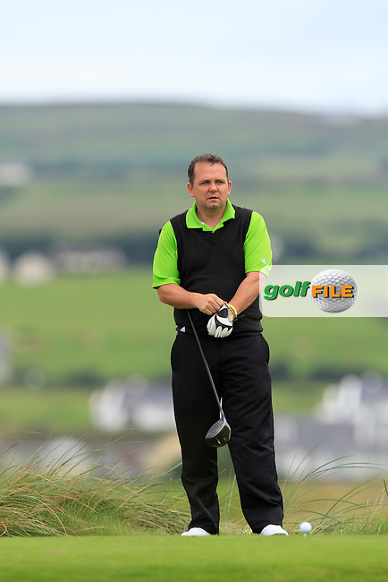 David Fitzgerald (Dromoland) on the 2nd tee during Round 1 of The South of Ireland in Lahinch Golf Club on Saturday 26th July 2014.<br /> Picture:  Thos Caffrey / www.golffile.ie
