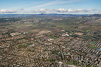 aerial photograph of Rohnert Park toward the Mayacamas Mountains, Sonoma County, California.