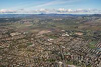 aerial photograph of Rohnert Park toward the Mayacamas Mountains, Sonoma County, California.