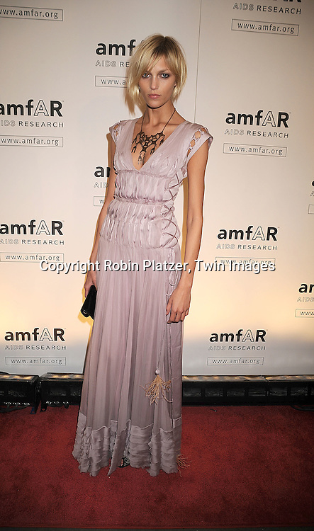 Anja Rubik in J Mendel dress..arriving at The amfAR New York Gala Kick Off for Fashion Week on February 12, 2009 at Ciprianis 42nd Street. ....Robin Platzer, Twin Images