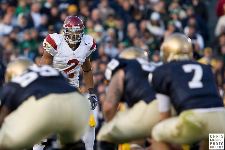 10/17/09 - South Bend, IN:  USC safety Taylor Mays waits for the snap at Notre Dame Stadium on Saturday.  USC won the game 34-27 to extend its win streak over Notre Dame to 8 games.  Photo by Christopher McGuire.