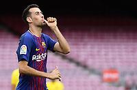 BARCELONA, 02-10-2017. LaLiga 2017/ 2018, date 7. FC Barcelona 3-0 UD Las Palmas. Sergio Busquets of FC Barcelona celebrates his goal.<br /> Foto Sergio Ruiz/Pro Shots/Insidefoto