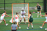 TAMPA, FL - MAY 20: Erin McMullen #8 of the Le Moyne Dolphins scores against the Florida Southern Mocs during the Division II Women's Lacrosse Championship held at the Naimoli Family Athletic and Intramural Complex on the University of Tampa campus on May 20, 2018 in Tampa, Florida. Le Moyne defeated Florida Southern 16-11 for the national title. (Photo by Jamie Schwaberow/NCAA Photos via Getty Images)