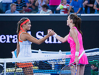 MONICA PUIG (PUR), AGNIESZKA RADWANSKA (POL)<br /> <br /> TENNIS - GRAND SLAM ITF / ATP  / WTA - Australian Open -  Melbourne Park - Melbourne - Victoria - Australia  - 22 January 2016<br /> <br /> &copy; AMN IMAGES