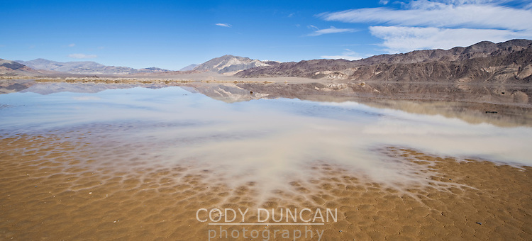 Above average winter rain creates small lake on the Racetrack playa, Death Valley national park, California