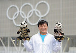 LONDON, ENGLAND - JULY 27:  Jackie Chan poses with panda bears before the start of  the Opening Ceremonies on Olympics Opening Day as part of the London 2012 Olympic Games at the Olympic stadium on July 27, 2012 in London, England. (Photo by Donald Miralle)