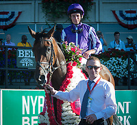 ELMONT, NY - JULY 7: Athena #6, ridden by Ryan Moore, wins the G1 Belmont Oaks at Belmont Park in Elmont, NY (Photo by Sophie Shore/Eclipse Sportswire/Getty Images)