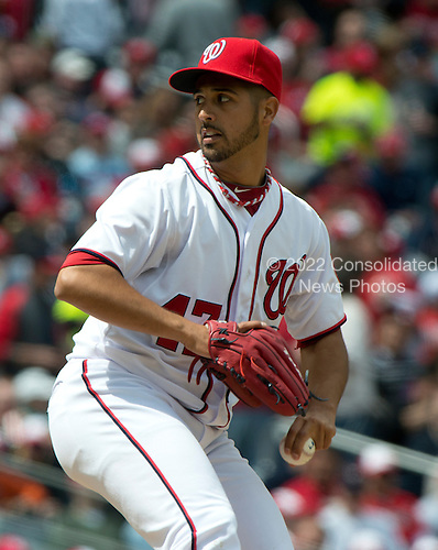Washington Nationals pitcher Gio Gonzalez (47) works in the fourth inning against the Cincinnati Reds at Nationals Park in Washington, D.C. on Thursday, April 12, 2012.  The Nationals won the game in 10 innings 3 - 2..Credit: Ron Sachs / CNP