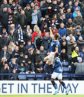 Blackburn Rovers' Sam Gallagher celebrates with team-mate Amari'i Bell after scoring his side's second goal <br /> <br /> Photographer Rich Linley/CameraSport<br /> <br /> The EFL Sky Bet Championship - Preston North End v Blackburn Rovers - Saturday 26th October 2019 - Deepdale Stadium - Preston<br /> <br /> World Copyright © 2019 CameraSport. All rights reserved. 43 Linden Ave. Countesthorpe. Leicester. England. LE8 5PG - Tel: +44 (0) 116 277 4147 - admin@camerasport.com - www.camerasport.com