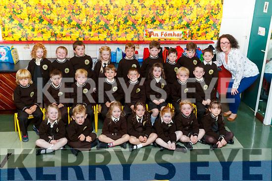 Olive U&iacute; Gh&eacute;ar&aacute;in's class of Junior Infants on their first day of School at Gaelscoil Mhic Easmainn on Wednesday.<br /> Front row from left : Sadhbh N&iacute; Dhorcha&iacute;, Oscar De M&oacute;rdha, Lily N&iacute; h&Aacute;inl&iacute;, Juliet Nic Phiarais, Aoibheann N&iacute; Mhath&uacute;na, Maria N&iacute; &Eacute;ala&iacute;, Rachel N&iacute; Mhath&uacute;na<br /> Middle Row from Left: Zac &Oacute; Loingsigh, Gabriel &Oacute; Laighin, Conch&uacute;r de Barra, Elliott Hudson, Daniel Mac Muiris, Lily Bair&eacute;ad, Max Mac Giob&uacute;in, Adam &Oacute; Cuill<br /> Back row from left: Aria N&iacute; Choile&aacute;in, Darren Mac Gearailt &Oacute; Conchubhair, Fionn Mac Gabhann, Kara N&iacute; Fh&aacute;ilbhe, Harry &Oacute; Ruanaidh, Conch&uacute;r &Oacute; Muineach&aacute;in, Se&aacute;n &Oacute; Muineach&aacute;in, Tom&aacute;s &Oacute; Muineach&aacute;in, Maiti&uacute; &Oacute; S&uacute;illeabh&aacute;in.<br /> M&uacute;inteoir Olive U&iacute; G&eacute;ar&aacute;&iacute;n