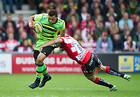 Northampton Saints' Luther Burrell is tackled by Gloucester Rugby's Lewis Ludlow <br /> <br /> Photographer Ashley Western/CameraSport<br /> <br /> Aviva Premiership - Gloucester v Northampton Saints - Saturday 7th October 2017 - Kingsholm Stadium - Gloucester<br /> <br /> World Copyright &copy; 2017 CameraSport. All rights reserved. 43 Linden Ave. Countesthorpe. Leicester. England. LE8 5PG - Tel: +44 (0) 116 277 4147 - admin@camerasport.com - www.camerasport.com