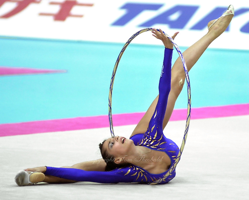 03 OCTOBER 1999 - OSAKA, JAPAN:  Elena Vitrichenko of Ukraine performs with hoop in Event Finals at the 1999 World Championships in Osaka, Japan.  Elena took 5th in the all-around.