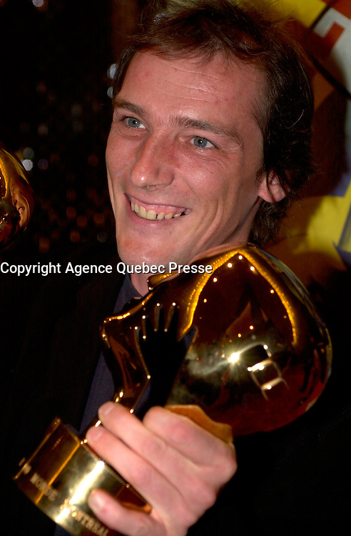 September 7,  2003, Montreal, Quebec, Canada<br /> <br /> GAZ BAR BLUES, the new film by Montreal director Louis B&Egrave;langer <br />  Belanger receive the Special Grand Prize of the Jury and also the OECUMNICAL AWARD for his movie, based on his father's life and values.<br /> <br /> <br /> <br /> The Festival runs from August 27th to september 7th, 2003<br /> <br /> <br /> Mandatory Credit: Photo by Pierre Roussel- Images Distribution. (&copy;) Copyright 2003 by Pierre Roussel <br /> <br /> All Photos are on www.photoreflect.com, filed by date and events. For private and media sales