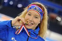 SCHAATSEN: HEERENVEEN: 05-02-2017, KPN NK Junioren, Podium Junioren B Dames 1000m, winnares Michelle de Jong, ©foto Martin de Jong