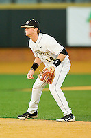 Wake Forest Demon Deacons second baseman Conor Keniry #14 on defense against the Maryland Terrapins at Wake Forest Baseball Park on March 9, 2012 in Winston-Salem, North Carolina.  The Demon Deacons defeated the Terrapins 10-5.  (Brian Westerholt/Four Seam Images)