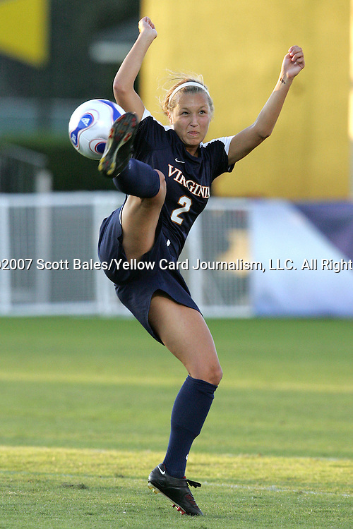 9 November 2007: Virginia's Sarah Senty. The University of North Carolina tied the University of Virginia 1-1 at the Disney Wide World of Sports complex in Orlando, FL in an Atlantic Coast Conference tournament semifinal match.  UNC advanced to the finals on penalty kicks, 4-2.