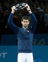 Novak Djokovic (SBR) with the runners up trophy after being beaten by Andy Murray (GBR) in the final, ATP World Tour Finals 2016, Day Eight, O2 Arena, Peninsula Square, London, United Kingdom, 20th Nov 2016