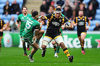 Nathan Hughes of Wasps takes on the Connacht defence. European Rugby Champions Cup match, between Wasps and Connacht Rugby on December 11, 2016 at the Ricoh Arena in Coventry, England. Photo by: Patrick Khachfe / JMP