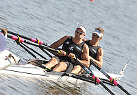 Poznan, POLAND,   NZL M2X, bow, Matthew TROTT and Nathan COHEN, competing in the heats of the men's double sculls, on the first day of the, 2009 FISA World Rowing Championships. held on the Malta Rowing lake, Sunday 23/08/2009 [Mandatory Credit. Peter Spurrier/Intersport Images]