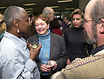 Katti Gray, Barbara Braine, Lynn Petry, and Peter Goodman at champagne get together of Newsday staff in the City room to toast the departure of colleagues on Friday March 1, 2002. (Photo by Jim Peppler).