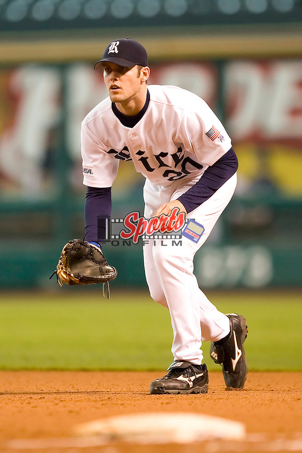 Rice first baseman Joe Savery (20) on defense versus Vanderbilt at the 2007 Houston College Classic at Minute Maid Park in Houston, TX, Friday, February 9, 2007.  Vanderbilt defeated Rice 7-3.