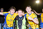Mike Breen, Danny Healy and Liam Carey Beaufort celebrate at the final whistle after beating Dromtarriffe in the Munster Junior final in Mallow on Sunday