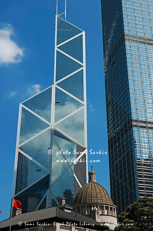 Church dome in front of modern skyscrapers, Hong Kong Island, Hong Kong, China.