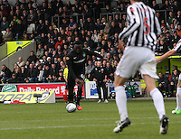 Victor Wanyama shoots to score a stunning goal in the St Mirren v Celtic Clydesdale Bank Scottish Premier League match played at St Mirren Park, Paisley on 20.10.12.
