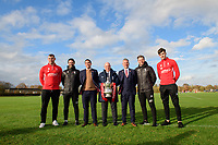 From left, Lincoln City's Matt Rhead, Lincoln City manager Danny Cowley, Lincoln City's chief executive Liam Scully, The Football Association's director of professional game relations, Andy Ambler, Lincoln City's vice-chairman Roger Bates, Lincoln City's assistant manager Nicky Cowley and Lincoln City's Ellis Chapman outside Lincoln City's new Elite Performance Centre<br /> <br /> Photographer Chris Vaughan/CameraSport<br /> <br /> The official opening of Lincoln City's new Elite Performance Centre - Wednesday 7th November 2018 - Scampton, Lincolnshire<br /> <br /> World Copyright © 2018 CameraSport. All rights reserved. 43 Linden Ave. Countesthorpe. Leicester. England. LE8 5PG - Tel: +44 (0) 116 277 4147 - admin@camerasport.com - www.camerasport.com