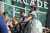 Pictured: Saturday 17 September 2016<br /> Re: Roald Dahl&rsquo;s City of the Unexpected has transformed Cardiff City Centre into a landmark celebration of Wales&rsquo; foremost storyteller, Roald Dahl, in the year which celebrates his centenary.<br /> The Tumps flash mob at Queens Arcade.